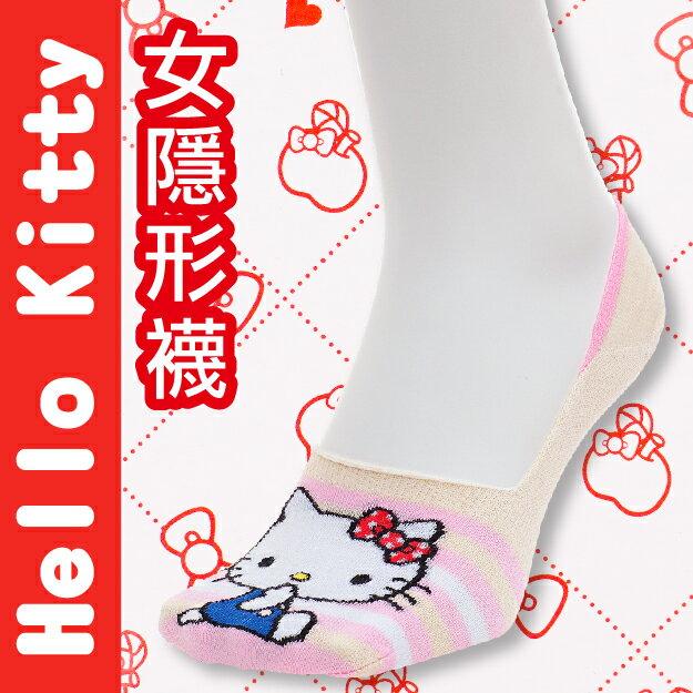 【沙克思】Hello Kitty 腳尖橫紋坐姿貓足弓加強女隱形襪 特性:舒適棉混+扁平口設計+足弓加強+後跟Y字編織+日本人氣卡通 (襪子 女襪 女短襪 SANRIO 三麗鷗 凱蒂貓)