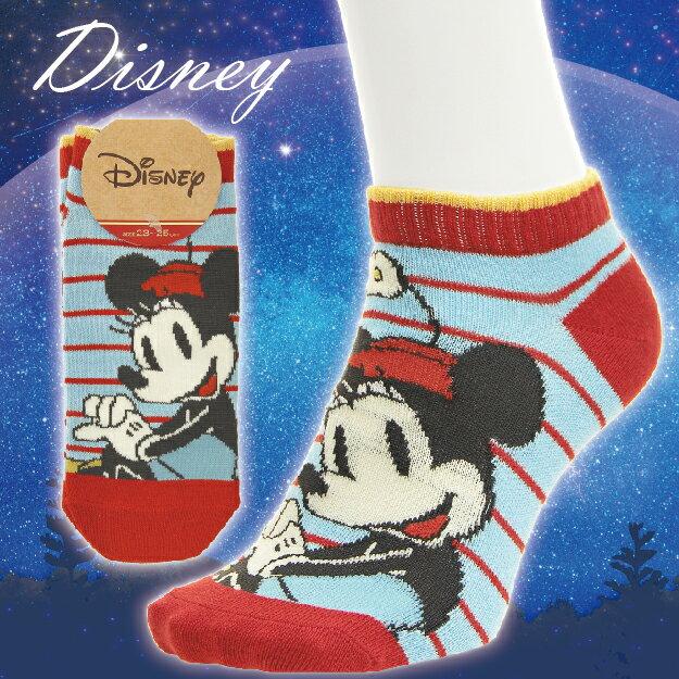 【沙克思】Disney 寬距橫紋側坐米妮女滑板襪 特性:舒適伸縮棉混編織+迪士尼人氣卡通 (襪子 女襪 女短襪 迪士尼 Minnie Mouse)