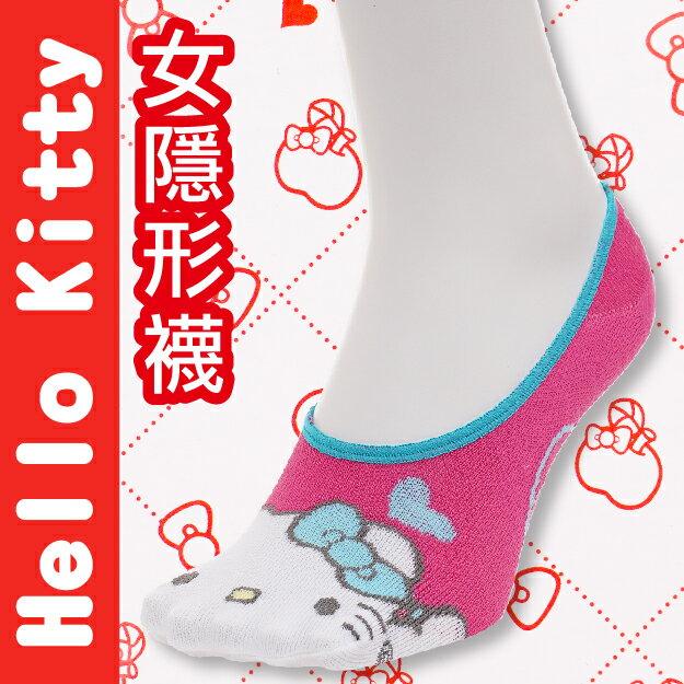 【沙克思】Hello Kitty 凱蒂貓臉右上愛心止滑女隱形襪 特性:舒適棉混+後跟Y字編織+後跟止滑+前後整體圖案+日本人氣卡通 (襪子 女襪 女短襪 SANRIO 三麗鷗)