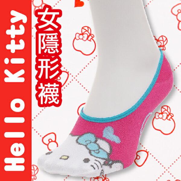【沙克思】HelloKitty凱蒂貓臉右上愛心止滑女隱形襪特性:舒適棉混+後跟Y字編織+後跟止滑+前後整體圖案+日本人氣卡通(襪子女襪女短襪SANRIO三麗鷗)