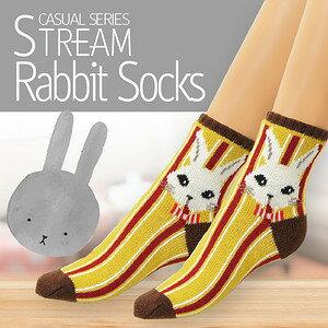 【沙克思】STREAM 三色直紋兔子臉二重編女短襪 特性:亞克力毛混素材+保溫二重編織 (女襪 女毛襪 厚毛襪 女室內襪 防寒保暖)