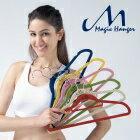 【Magic Hanger 洛克馬企業】韓國熱銷款 超薄防滑植絨 神奇不滑落衣架(彩色-76件組) 1