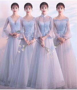 天使嫁衣【BL801A】灰色網紗蕾絲收腰高貴4款澎感長禮服˙預購訂製款