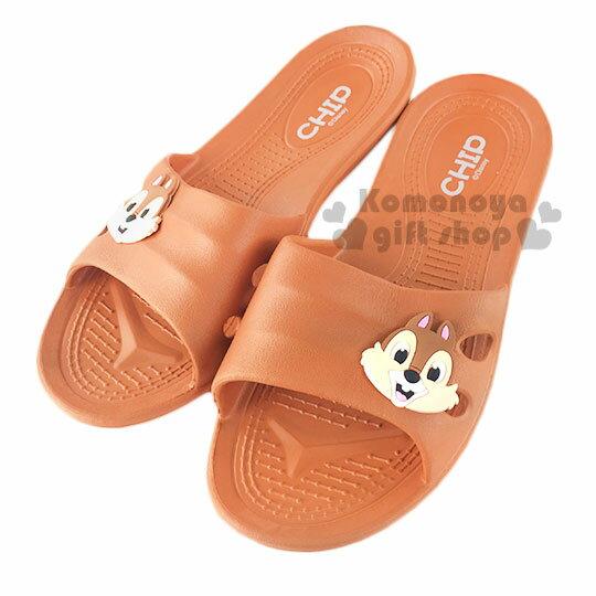 〔小禮堂〕迪士尼 奇奇蒂蒂 塑膠拖鞋《棕.大臉》環保室內防滑
