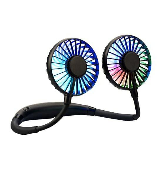掛脖風扇 充電風扇 懶人風扇 頸掛風扇 雙頭風扇 免手持 夜燈風扇 七葉片 USB充電