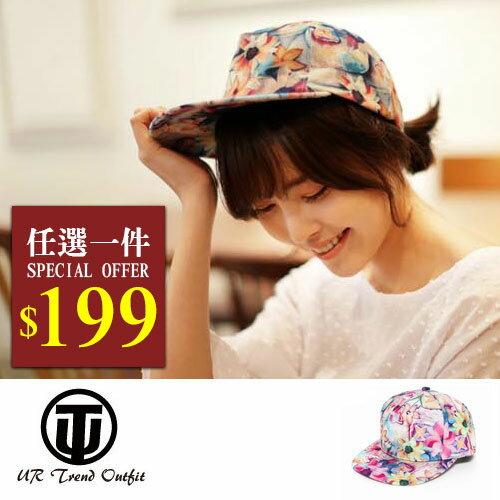 帽子【UTO】韓版潮流不規則印花休閒嘻哈帽棒球帽鴨舌帽 (現+預)