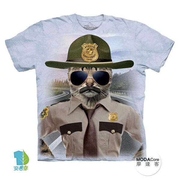 【摩達客】(預購)美國進口TheMountain警長貓純棉環保藝術中性短袖T恤