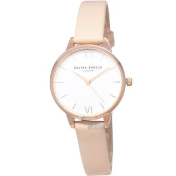 OLIVIABURTONOB16MDW21玫金框膚色皮帶女錶30mm【錶飾精品】
