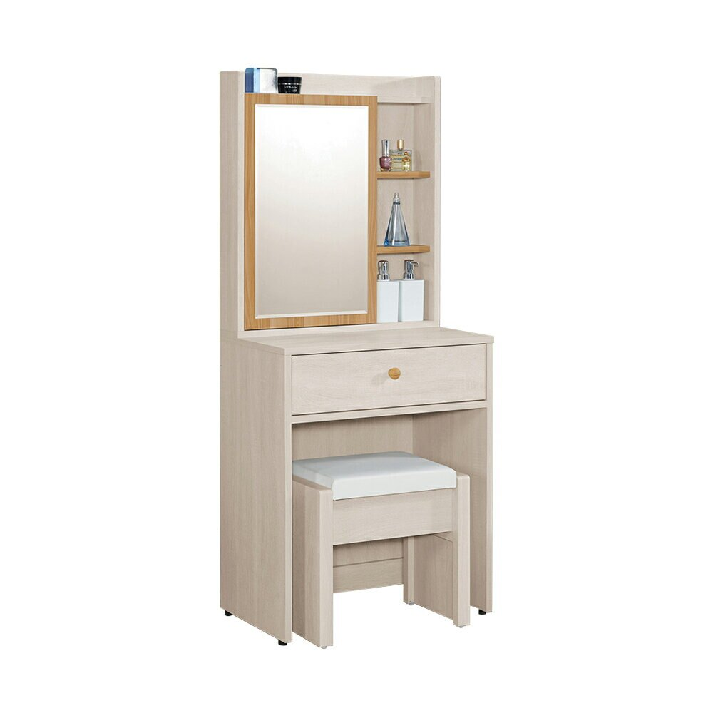亞特蘭2尺開門鏡台(含椅)/H&D東稻家居-消費滿3千送點數10%
