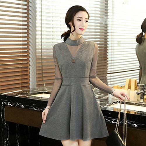 圓領修身連身裙洋裝 (3色,M~2XL) 【OREAD】 1