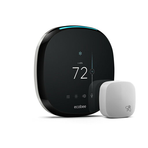 ECOBEE4 WI-FI THERMOSTAT WITH ROOM SENSOR AND BUILT-IN AMAZON ALEXA - BLACK