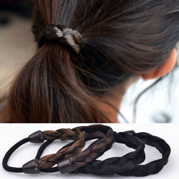 假髮髮束 麻花辮子髮圈 彈力編織綁馬尾 仿真髮 頭飾 橡皮筋 造型髮帶【AN SHOP】
