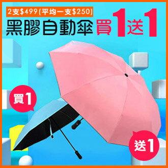 77美妝:【※買1送1】馬卡龍色黑膠8骨反向自動折疊傘雨傘陽傘HL1413《2入組》