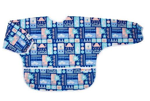 Baby City 防水長袖圍兜-藍色機器人(1-3歲)【悅兒園婦幼生活館】