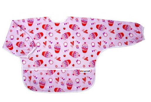 Baby City 防水長袖圍兜-紅色杯子蛋糕(1-3歲)【悅兒園婦幼生活館】