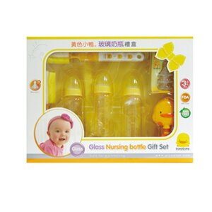 【悅兒樂婦幼用品舘】Piyo 黃色小鴨 玻璃奶瓶禮盒