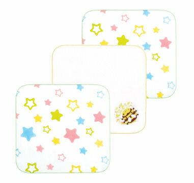 【悅兒樂婦幼用品?】naforye 拉孚兒純棉紗布手帕(3入) - 蜜蜂星星組