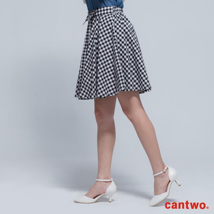 cantwo傘狀雙色格紋短裙(共二色) 2
