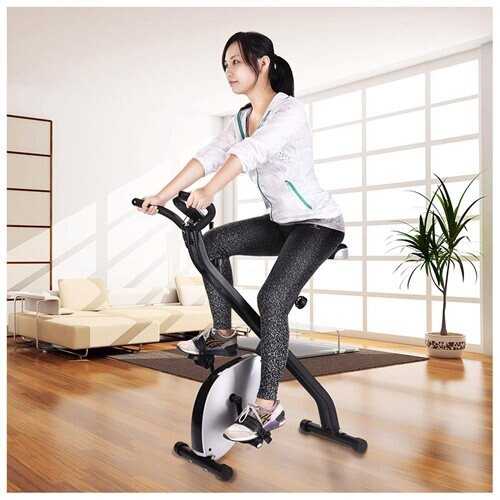 Folding Magnetic Upright Exercise Bike LCD Display Fitness Indoor Cycling Trainer Silver 0