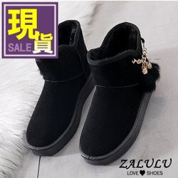 ZALULU愛鞋館 7JE160 現貨 俏皮毛球裝飾短筒雪靴-偏小-黑36