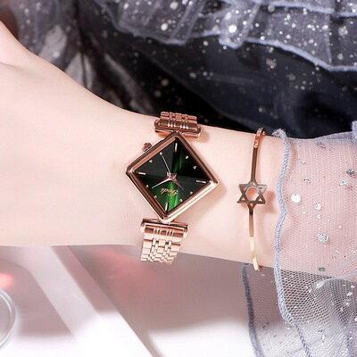 鋼帶手錶女 商務腕表鋼帶菱形手錶女士時尚防水簡約輕奢超薄女表『SS2572』