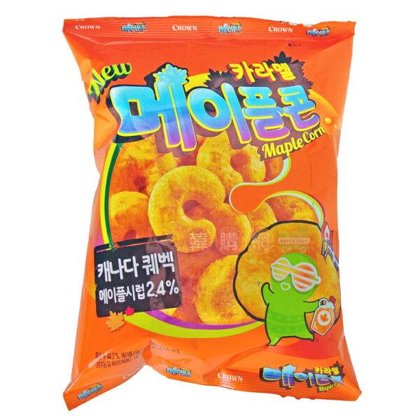【韓購網】韓國Crown楓糖脆果74g★楓糖漿與焦糖玉米脆果★韓國皇冠進口零食餅乾