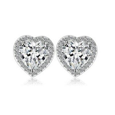 純銀耳環鍍白金鑲鑽耳飾~ 精緻耀眼愛心生日七夕情人節 女飾品4色73cr43~ ~~米蘭