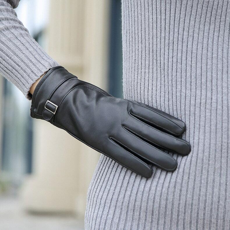 真皮手套保暖手套-羊皮加絨加厚搭扣女手套73wm70【獨家進口】【米蘭精品】 2