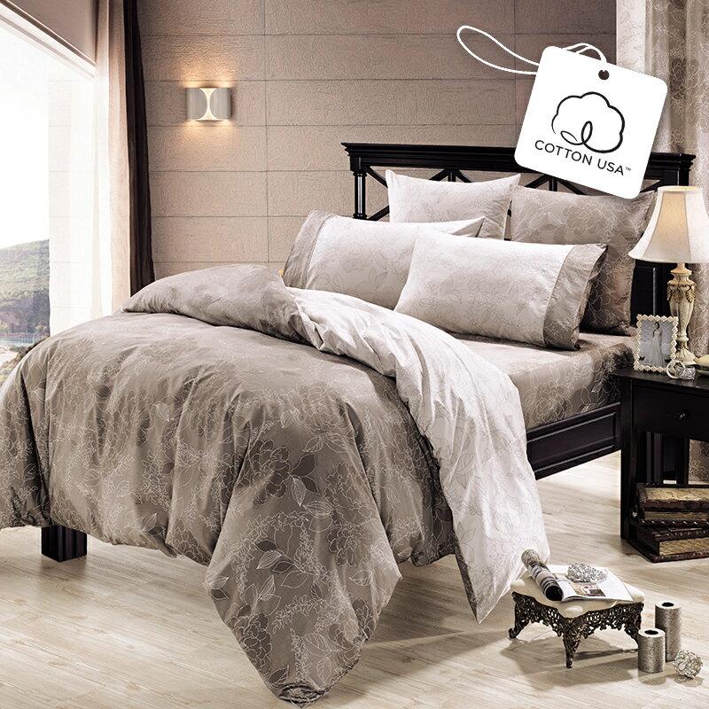 【鴻宇兩用被-HONGYEW】美國棉/台灣製/精梳棉/300織/奧麗薇亞 雙人四件式薄被套床包組196808
