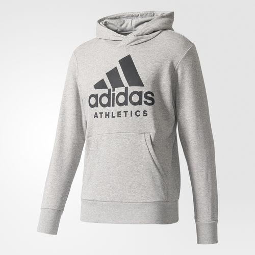 Adidas SPORT ID PULLOVER HOODIE 男裝 上衣 長袖 帽T 棉質 LOGO 灰 【運動世界】 B47375