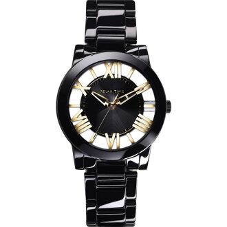 Relax Time RT-53-11黑金羅馬鏤空陶瓷腕錶/黑面38.6mm