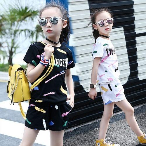 中大童短袖套裝塗鴉短袖上衣T恤+短褲二件式春夏童裝MC20220好娃娃