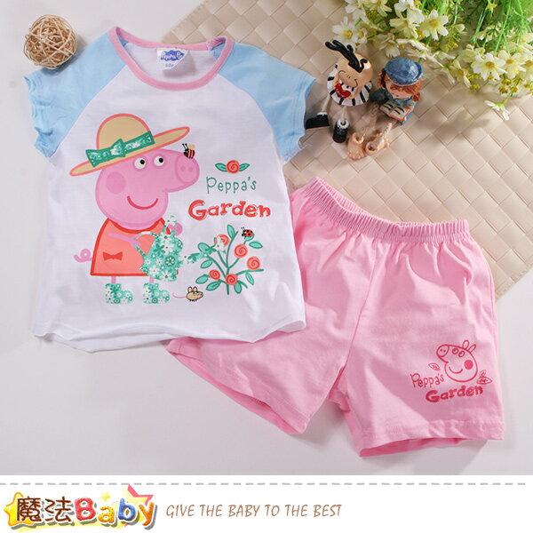 女童裝粉紅豬佩佩正版純棉夏季套裝魔法Baby~k50911