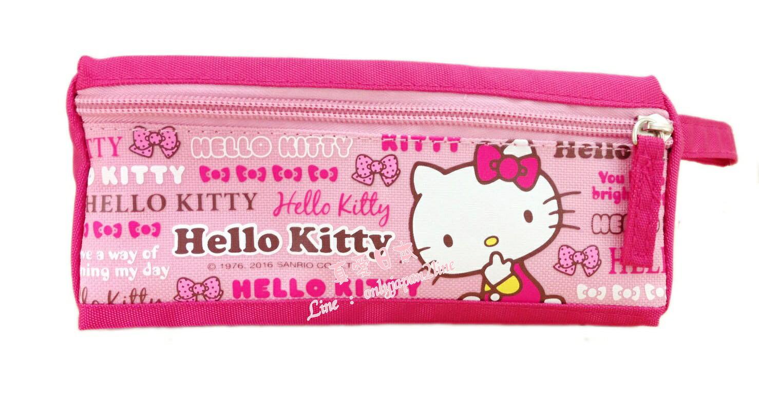 【真愛日本】16081600018三角手提布筆袋-字母粉    三麗鷗 Hello Kitty 凱蒂貓    收納 筆袋