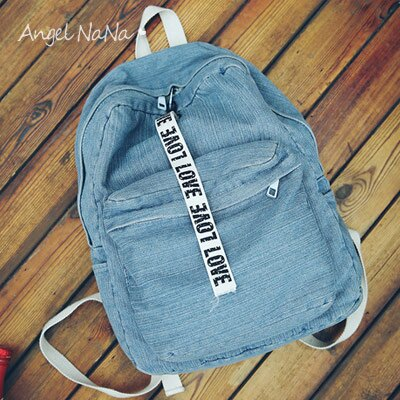 牛仔後背包-水洗牛仔布織帶學生書包簡約情侶 AngelNaNa 【BA0230】