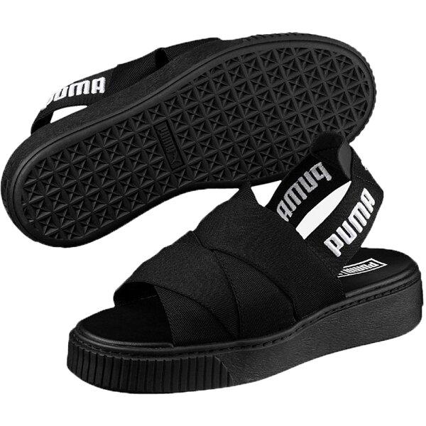 PumaPlatformSandal女鞋拖鞋涼鞋繃帶厚底黑【運動世界】36547801