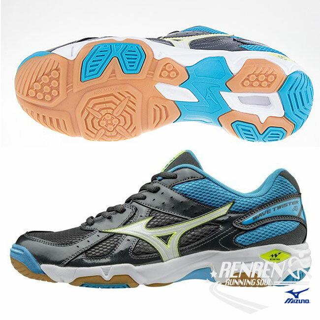 美津濃 MIZUNO 男排球鞋 Wave Twister 4 (黑/藍) 入門基本型款 V1GA157073【 胖媛的店 】