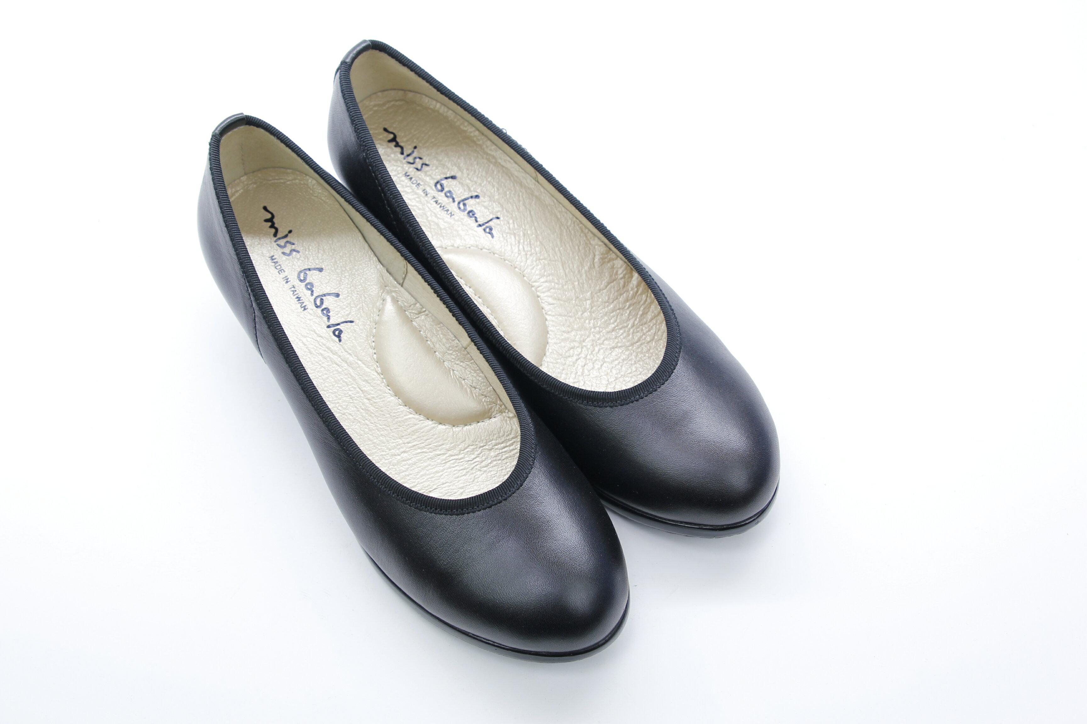 Aimez La Vie 經典優雅 真皮素面基本款上班族OL低跟鞋