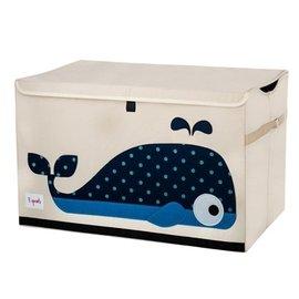 【淘氣寶寶】加拿大 3 Sprouts 大型玩具收納箱-小鯨魚【超大容量造型玩具箱,可摺疊收納,加蓋防塵】【保證公司貨●品質保證】