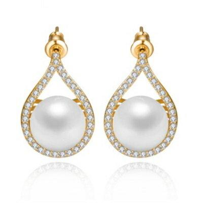 純銀耳環鍍18K金鑲鑽耳飾~ 優雅氣質 情人節生日 女飾品2色73cr390~ ~~米蘭