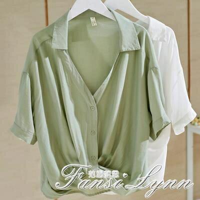 V領白襯衫女設計感小眾短袖新款2021年寬鬆顯瘦下擺打結上衣女夏 摩可美家