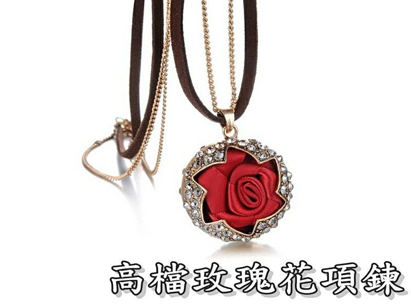 ~316小舖~~F237~  潮流項鍊~高檔玫瑰花項鍊~單件價  復古風飾品  女性 飾品