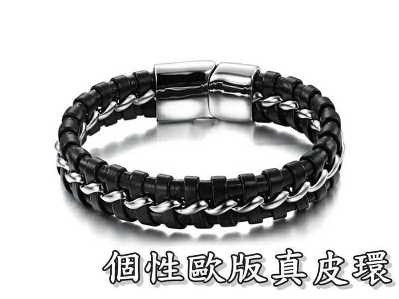 ~316小舖~~Q191~^( 精鋼皮環~ 歐版真皮環~單件價  復古風皮環  磁吸飾皮環