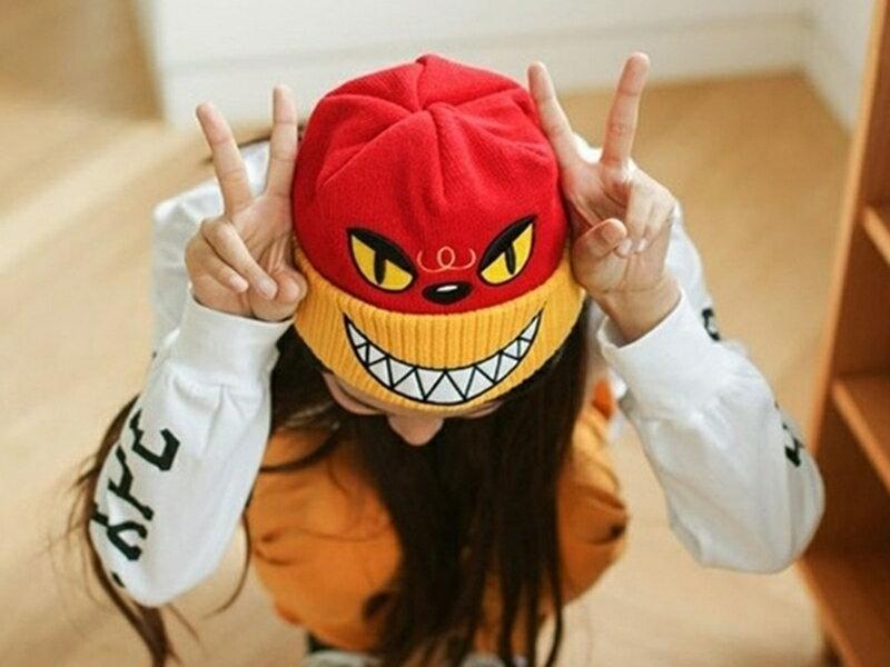 《316小舖》【YB14】(新款韓版可愛卡通嘻哈毛線保暖帽子-單件價/可愛帽子/嘻哈帽子/卡通帽子/男女帽子)