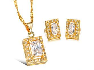《316小舖》【KX04】(奈米電鍍18K金套裝組-(項鍊+耳環)-亮麗白鑽金項鍊+亮麗白鑽金耳環一組價-共3件)