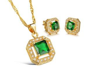 《316小舖》【KX07】(奈米電鍍18K金套裝組-(項鍊+耳環)-奢華綠鑽金項鍊+奢華綠鑽金耳環一組價-共3件)