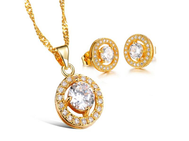 ~316小舖~~KX10~ 奈米電鍍18K金套裝組~ 項鍊 耳環 ~貴族白鑽金項鍊 貴族白