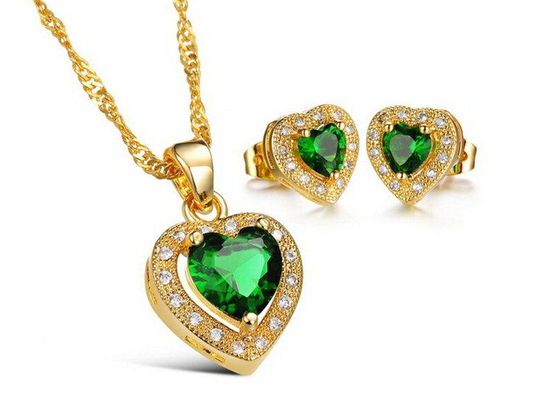 ~316小舖~~KX14~ 奈米電鍍18K金套裝組~ 項鍊 耳環 ~綠鑽金愛心項鍊 綠鑽金