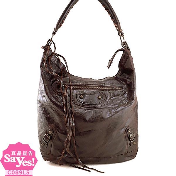 【奢華時尚】BALENCIAGA 巴黎世家-咖啡色羊皮DAY肩背機車包(八成新) #21001