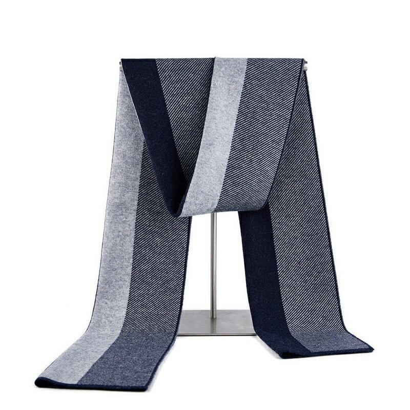 圍巾羊毛披肩-針織提花商務條紋男配件3色73wh51【獨家進口】【米蘭精品】